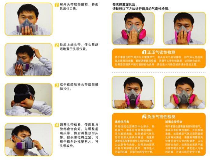 3M 6200防毒面具佩戴方法及气密性检查